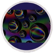 Water Droplets 5 Round Beach Towel
