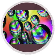 Water Droplets 6 Round Beach Towel