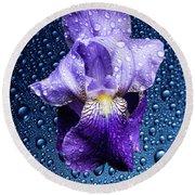 Water Drops On Purple Iris Round Beach Towel