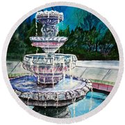 Water Fountain Acrylic Painting Art Print Round Beach Towel