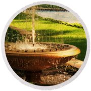 Water Fountain Garden Round Beach Towel