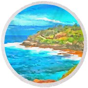 Water Gushing In On A Natural Cove Round Beach Towel