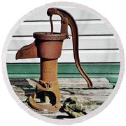 Water Hand Pump Round Beach Towel
