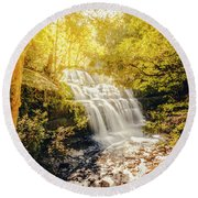 Water In Fall Round Beach Towel