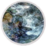Water In Motion Round Beach Towel