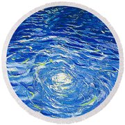 Water In The Pool Round Beach Towel