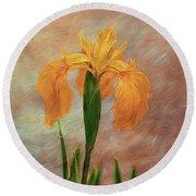Water Iris - Textured Round Beach Towel