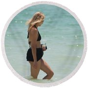 Water Lady Round Beach Towel