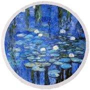 water lilies a la Monet Round Beach Towel