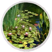 Water Lilies And Koi Pond Round Beach Towel