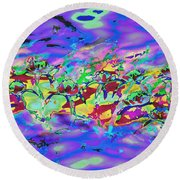 water lilies In twilight Round Beach Towel