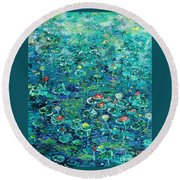 Water Lilies Lily Pad Lotus Water Lily Paintings Round Beach Towel