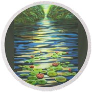 Water Lillies At Dusk Round Beach Towel