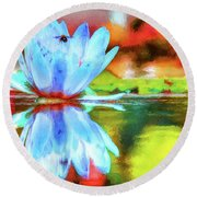 Water Lily And Bee Pastel Round Beach Towel