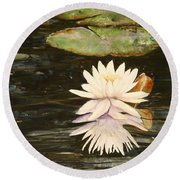 Water Lily And Pads Round Beach Towel