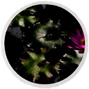 Water Lily At Dusk Round Beach Towel