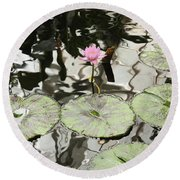 Water Lily Canvas Round Beach Towel