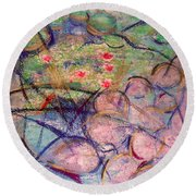 Water Lily Monotype Round Beach Towel
