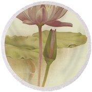 Water Lily  Nymphaea Zanzibarensis Round Beach Towel