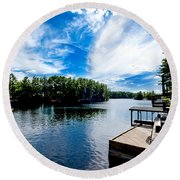 Water Mirrors Sky Round Beach Towel