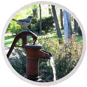 Water Pump Round Beach Towel