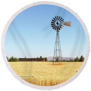 Water Pump Windmill At Wheat Farm In Rural Oregon Round Beach Towel
