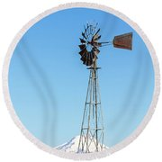 Water Pump Windmill In Central Oregon Farm Round Beach Towel
