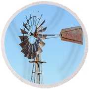 Water Pump Windmill On Blue Sky Background Round Beach Towel