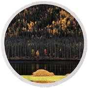 Water Reflections In Autumn Round Beach Towel
