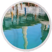 Water Reflections Of Morro Bay  Dock Round Beach Towel