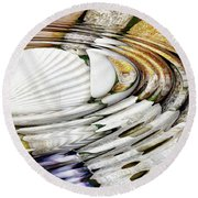 Water Ripples Above Sea Shells Round Beach Towel