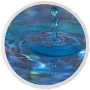 Water Sculpture Neon Blue 1 Round Beach Towel