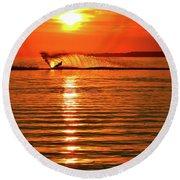 Water Skiing At Sunrise  Round Beach Towel