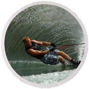 Water Skiing Magic Of Water 11 Round Beach Towel by Bob Christopher
