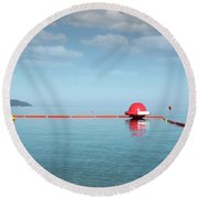 Water Slide Seascape Summer Vacation Scene Round Beach Towel