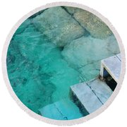 Water Steps Round Beach Towel