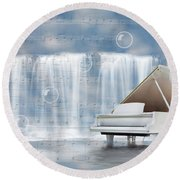 Water Synphony For Piano Round Beach Towel