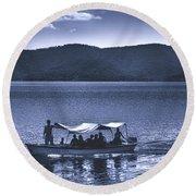 Water Taxi - Lago De Coatepeque - El Salvador Round Beach Towel