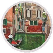 Water Taxi On Venice Side Canal Round Beach Towel
