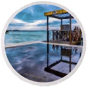 Water Taxi Round Beach Towel