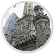 Water Tower And Sears Tower Round Beach Towel