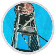 Water Tower Round Beach Towel by Glenda Zuckerman