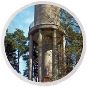 Water Tower In Malmi Cemetery Round Beach Towel
