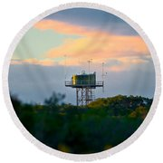 Water Tower In Orange Sunset Round Beach Towel
