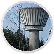 Water Tower Of Lohja  Station Round Beach Towel