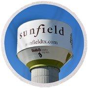 Water Tower - Sunfield Texas  Round Beach Towel