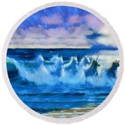 Water Unicorns Round Beach Towel