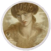 Water Willow - Study Of Female Head And Shoulders Round Beach Towel