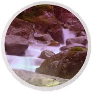Water Winding Through Rocks Round Beach Towel