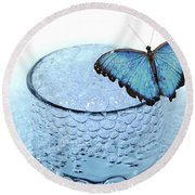 Water With Butterfly Round Beach Towel